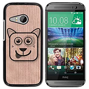 - / Cartoon Cat Funny Dog Pet - - Funda Delgada Cubierta Case Cover de Madera / FOR HTC One Mini 2 M8 Mini / Jordan Colourful Shop/