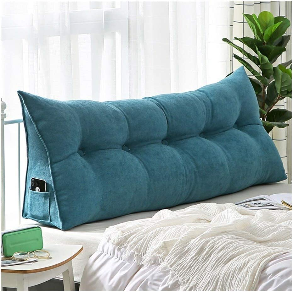 WF Double Bedside Triangle Cushion Daybed Backrest Sofa Bed Large Cushion Three-Dimensional Detachable Tatami Reading Backrest Cushion Color : Blue, Size : 60 * 50cm