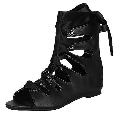 YE Damen Flach Sommer Stiefeletten mit Schnürung Cut Out Sandalen Bequem Schuhe (41EU, Schwarz)