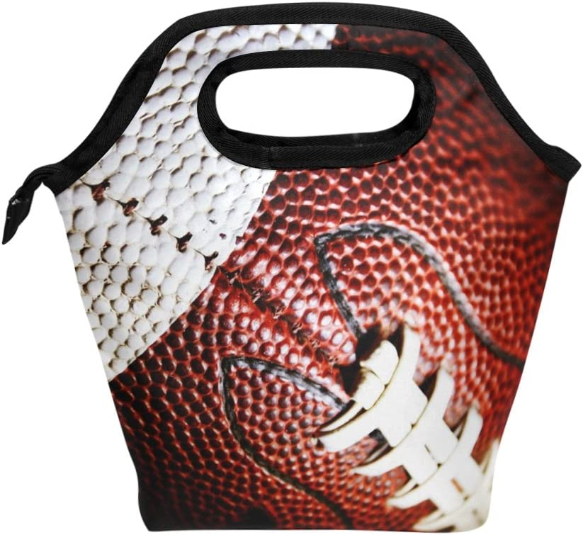 Naanle Sport American Football Insulated Zipper Lunch Bag Cooler Tote Bag for Adult Teens Kids Girls Boys Men Women, Sport Lunch Boxes Lunchboxes Meal Prep Handbag for School Office