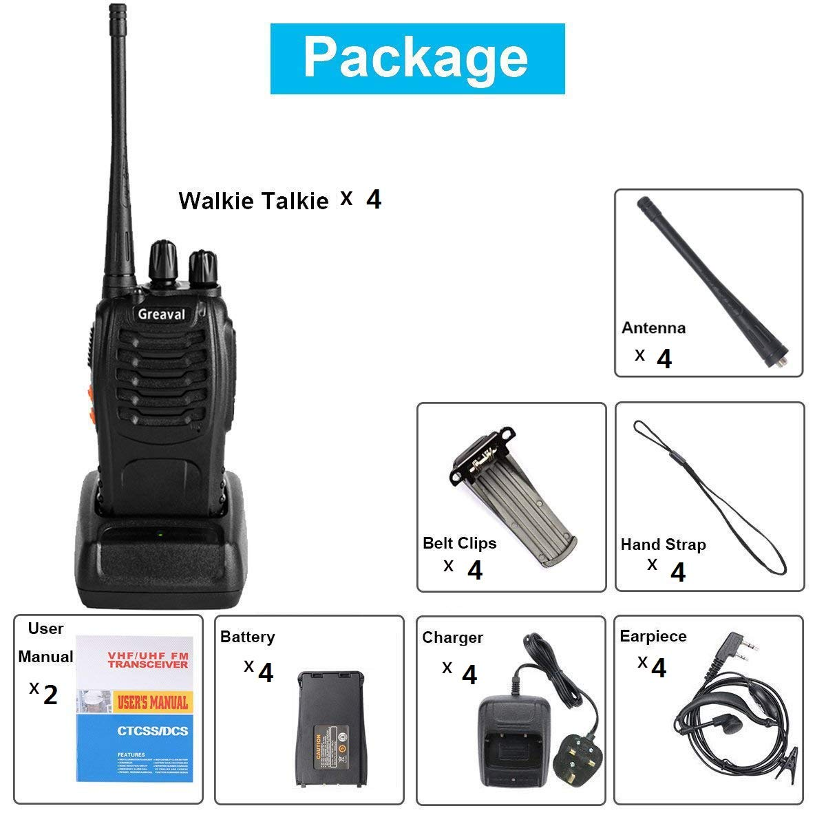 Ltd. Qicheng Technology Co Pack of 2 BaoFeng Walkie Talkies Long Range Two Way Radio UHF 400-470MHz 16-Channel 2 Way Radio with Earpiece