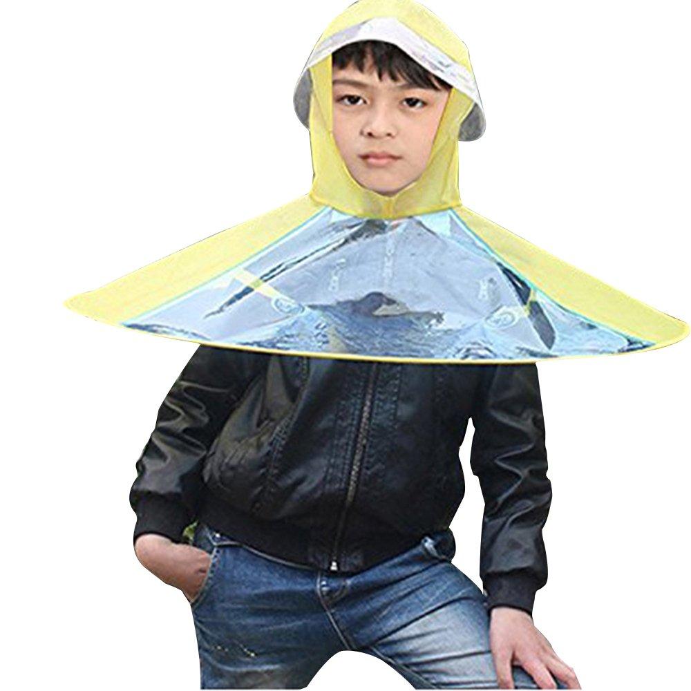 Eizur Niños Portátil UFO Paraguas Gorro de Cabeza Piegante Elástica Cascos Sombrero Sol Lluvia Cascos Bóveda Diámetro 70 cm de Color Amarillo y Rosa, ...