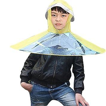 Eizur Niños Portátil UFO Paraguas Gorro de Cabeza Piegante Elástica Cascos Sombrero Sol Lluvia Cascos Bóveda