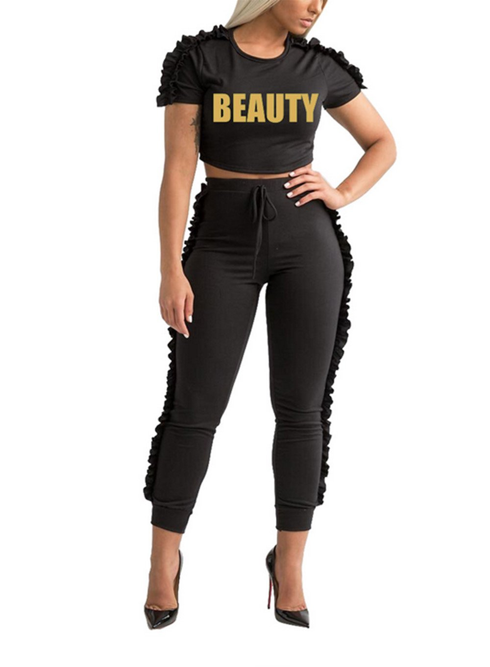 Lovelyduo Women's 2 Pieces Outfits Crop Top and Long Flounced Pants Sweatsuits Set Tracksuits Black M