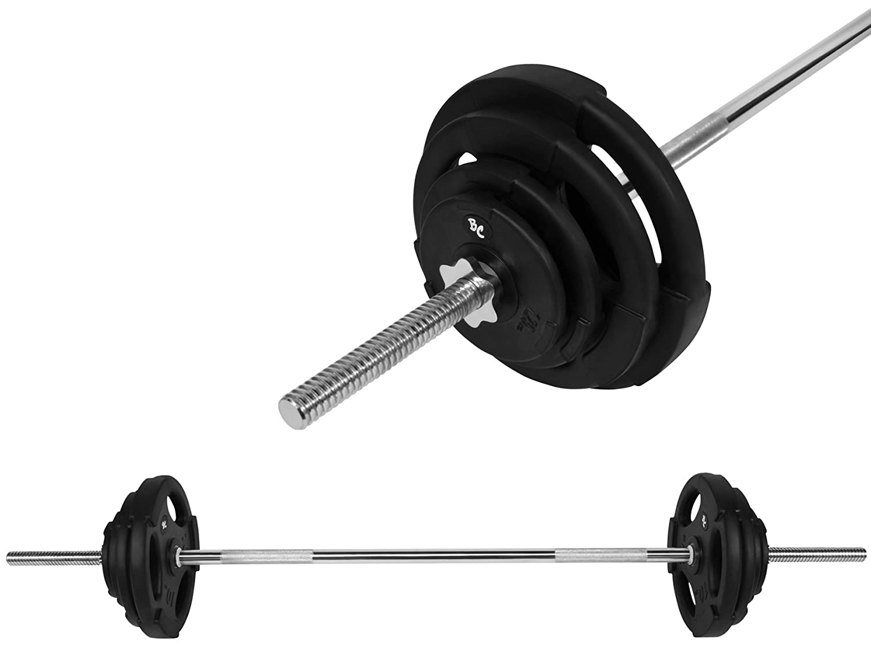 Bad Company Gummi-Gripper Hantel-Set 47Kg (1 x Langhantelstange 168cm, 2x1,25, 2x2,5, 2x5, und 2x10Kg Hantelscheiben) Gewichte Hanteln