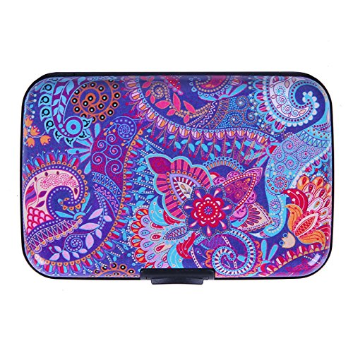 HDE RFID Credit Card Holder Front Pocket Hard Shell RFID Wallets for Women (Purple Paisley)