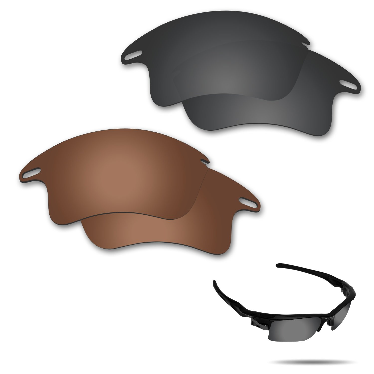 Fiskr Anti-Saltwater Polarized Replacement Lenses for Oakley Fast Jacket XL Sunglasses 2 Pairs Packed (Stealth Black & Bronze Brown)