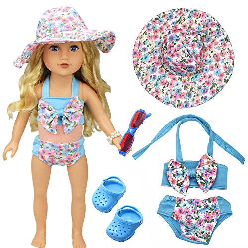 Swimsuit clothes Set for 43cm American Girl Dolls: Includes sun Cap, sunglasses, shoes and Bathing Suit for 18 Inch - Suit And Sunglasses