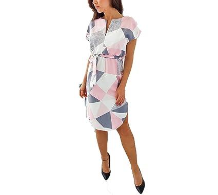 Geometric Print Dress Women V Neck Short Sleeve Woman Summer Dresses Casual Sashes Robe Midi Dress Ladies Elegant Vestidos at Amazon Womens Clothing store: