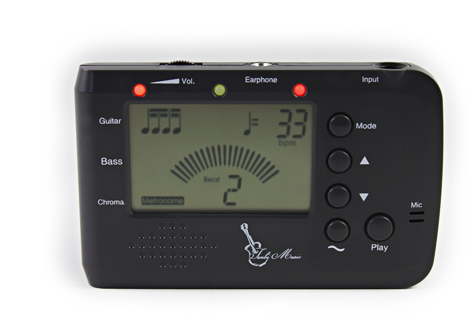 Digital Electronic Metronome Tuner (Tanbi Music MT560GB) – Guitar/Bass/Chromatic Modes - Use for Violin, Ukulele, Banjo, Mandolin & More - Clip-on Pickup and Batteries Included