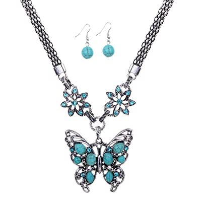 YAZILIND Vintage Tibetan Silver Pretty Hollow Heart Turquoise Pendant Necklace Earrings Jewelry Set AWGa8