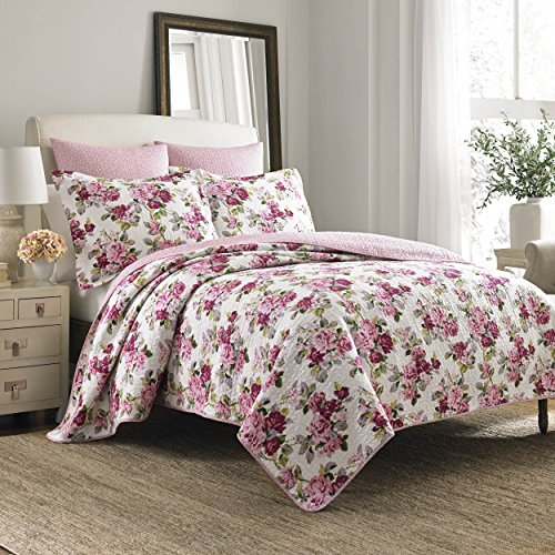(Laura Ashley Lidia Quilt Set, Pink, Full/Queen)
