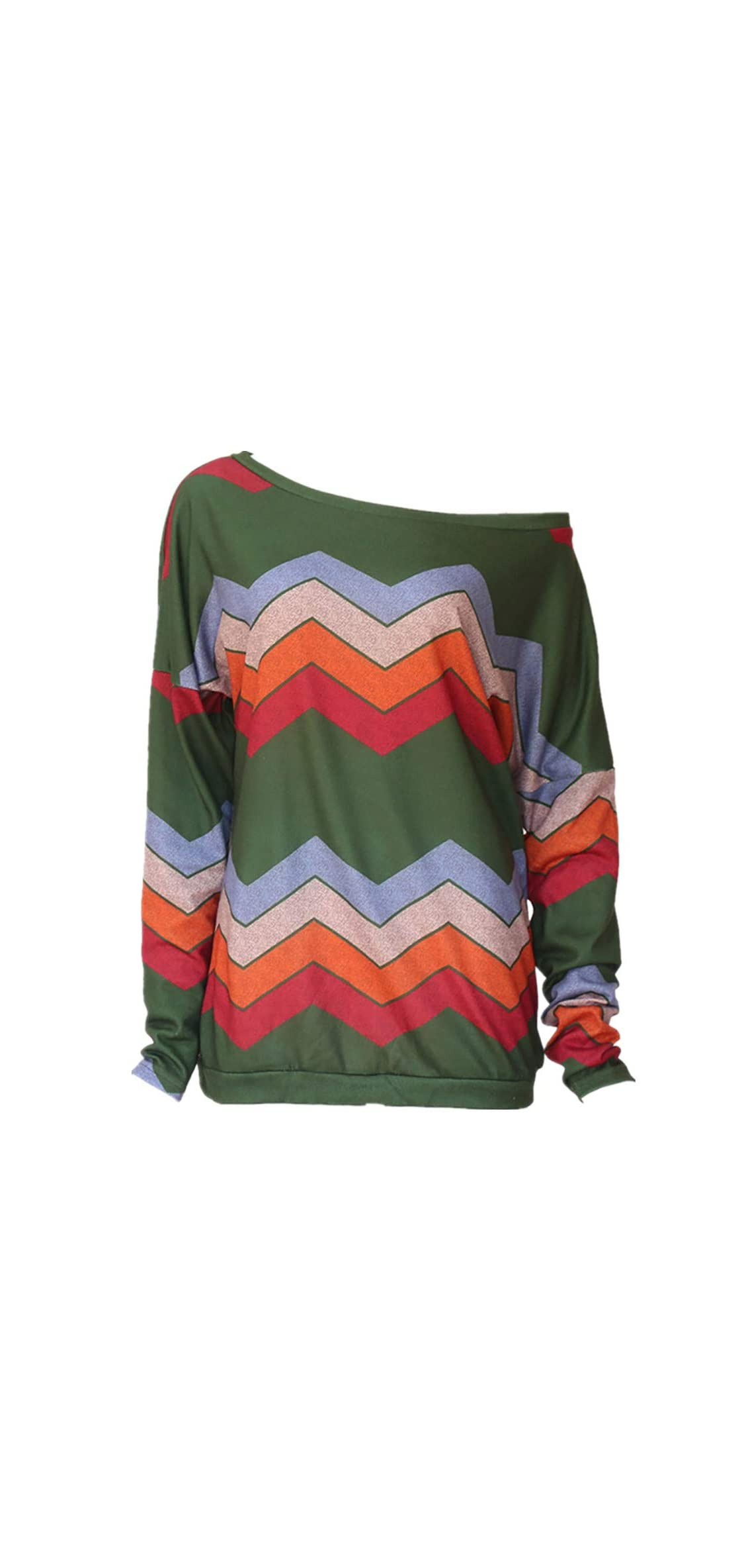 Women's Colorful Geometric Wavy Stripe Printed Long