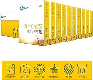 HP Printer Paper 8.5x11 AllInOne 22 lb 10 Ream Case 5000 Sheets 96 Bright Made in USA FSC Certified Copy Paper HP Compatible 207010C