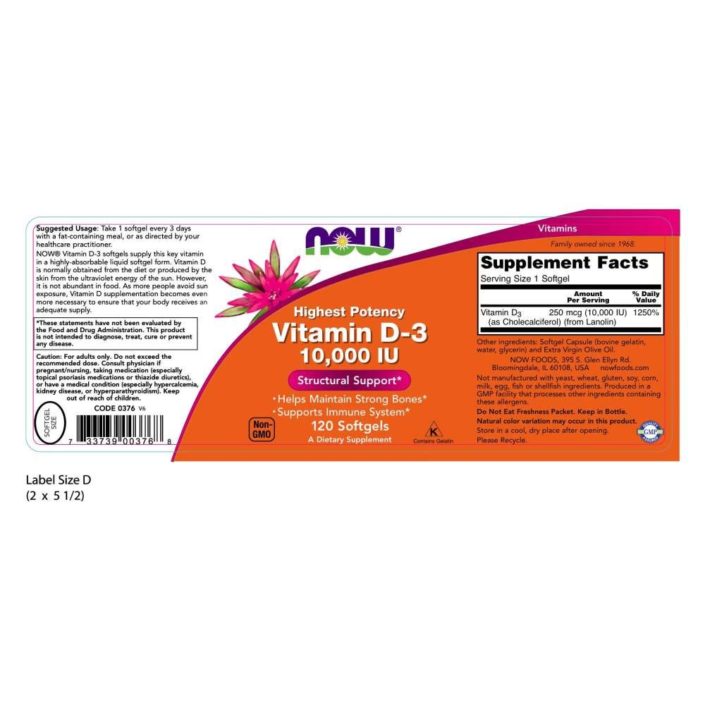 Now Foods, Vitamina D-3, 10,000 IU - 120caps: Amazon.es: Salud y cuidado personal