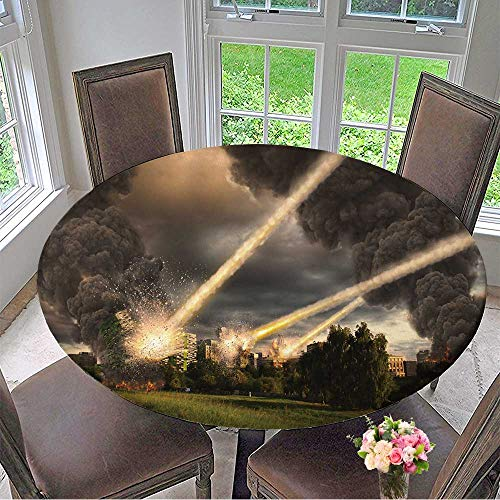 Mikihome Chateau Easy-Care Cloth Tablecloth Meteorite Shower Over Buildings for Home, Party, Wedding 40