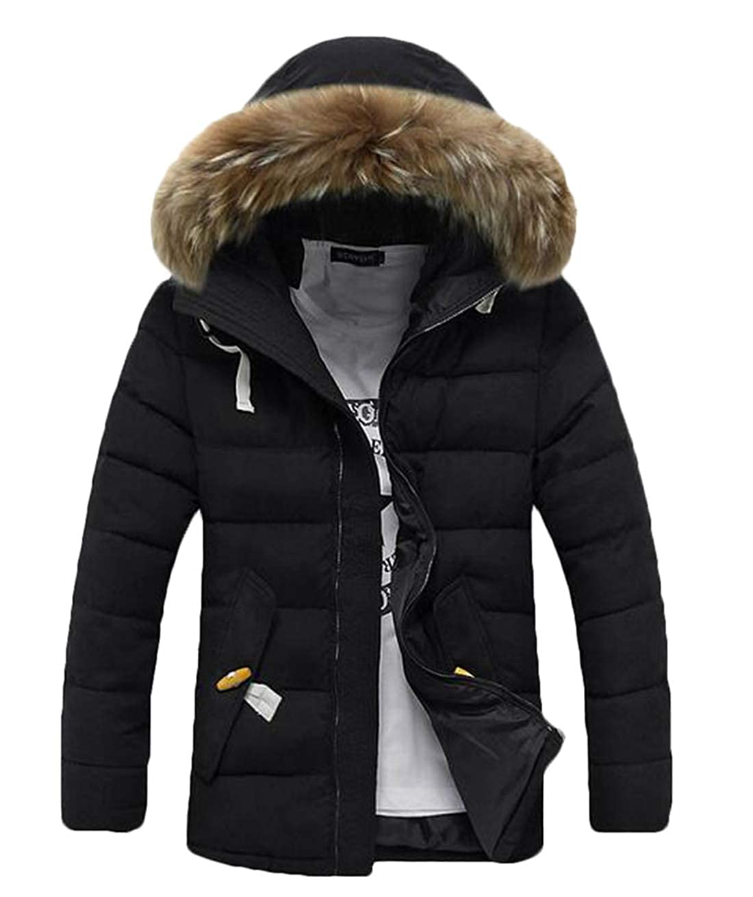 Black Domple Mens Winter Warm Quilted Thicken Hooded Faux Fur Collar Coat Padded Down Jacket