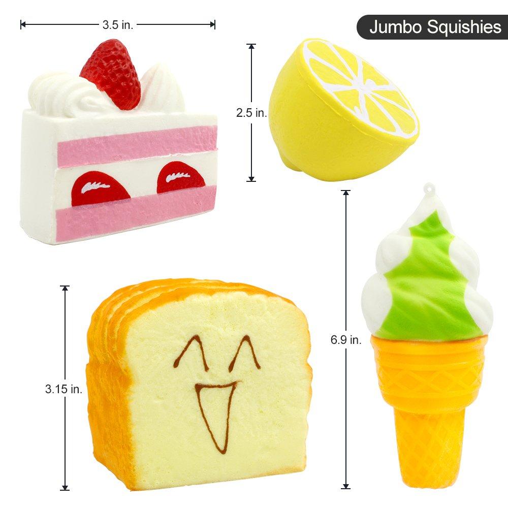 Amazon.com: Jumbo Squishies, 4 Pcs Super Slow Rising squishies ...