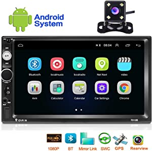 Hikity Android Double Din 7 Inch Car Stereo with GPS Touch Screen Radio Bluetooth FM Receiver Support WiFi Connect Mirror Link for iOS/Android Phone + Backup Camera
