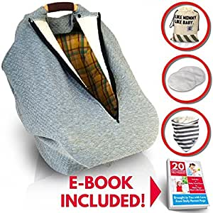 Multi-use Baby Car Seat Covers Winter for Girls Boys| Stretchy Infant Seat Cover Canopy| Nursing Cover| Warm Breathable Windproof| Mosquito Net, Zipper, Grey Universal Fit| FREE Bib & Pouch Gift