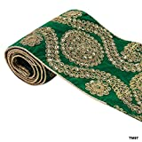 Green Home Decorative Bridal Dupatta Lace Traditional Saree Embriodered Border Woven Trim By 1 Yard
