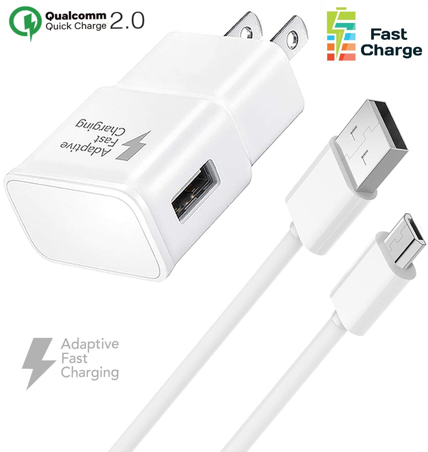 Truwire Adaptive Fast Charger Set for Samsung Galaxy S7, S7 Edge, J7, S6, S6 Edge, Note 5, Note 4, Sony, HTC, Honor Lite 10, Moto G5, and More, Wall ...