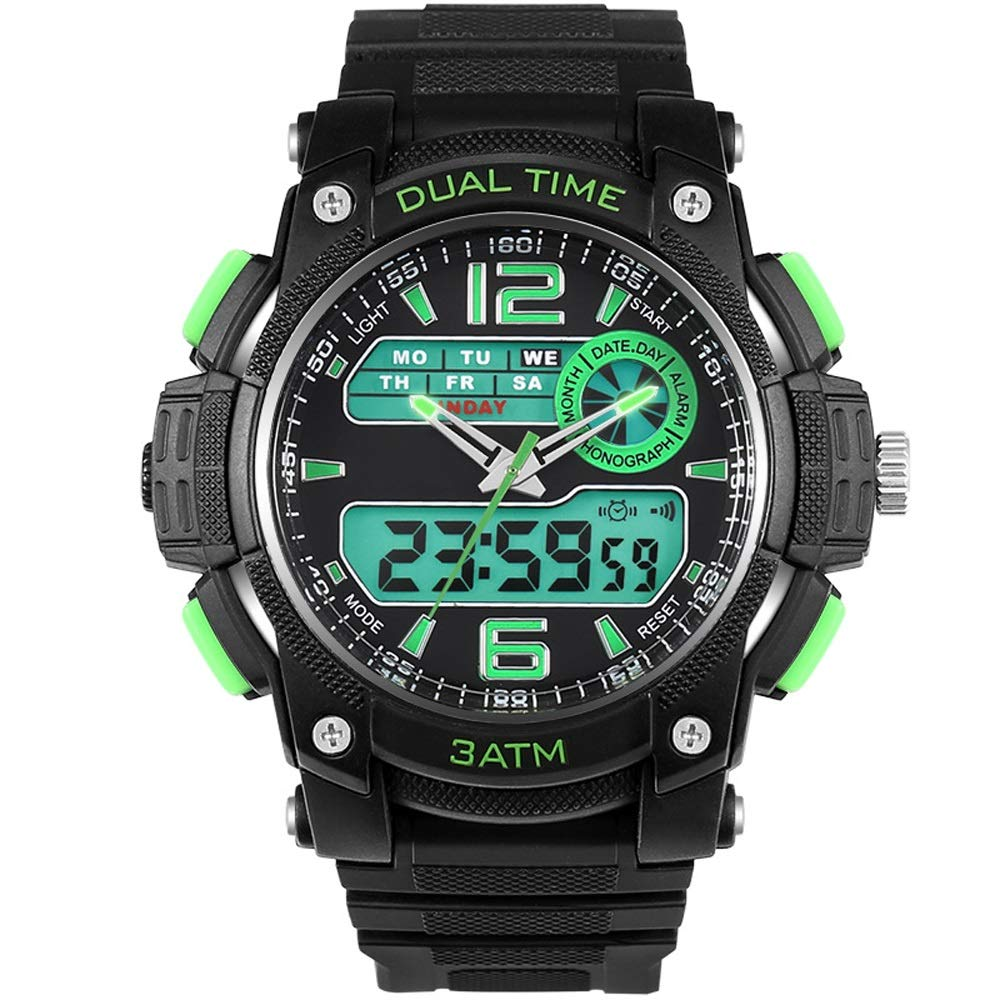 Watch Fashion Electronic Outdoor Sports Waterproof Male Students Watch Double Display Mens Watch, Fashion Watch (color   Green, Size   Free)