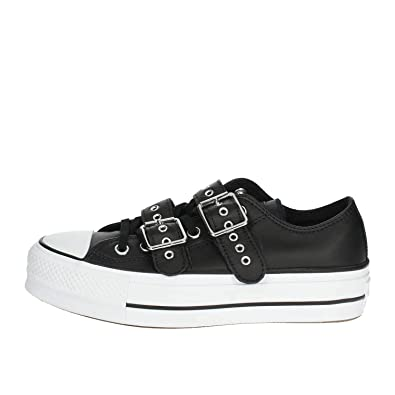 f5cf236d9afd73 Converse Women s s Chuck Taylor CTAS Lift Buckle Ox Low-Top Sneakers  Black White 001