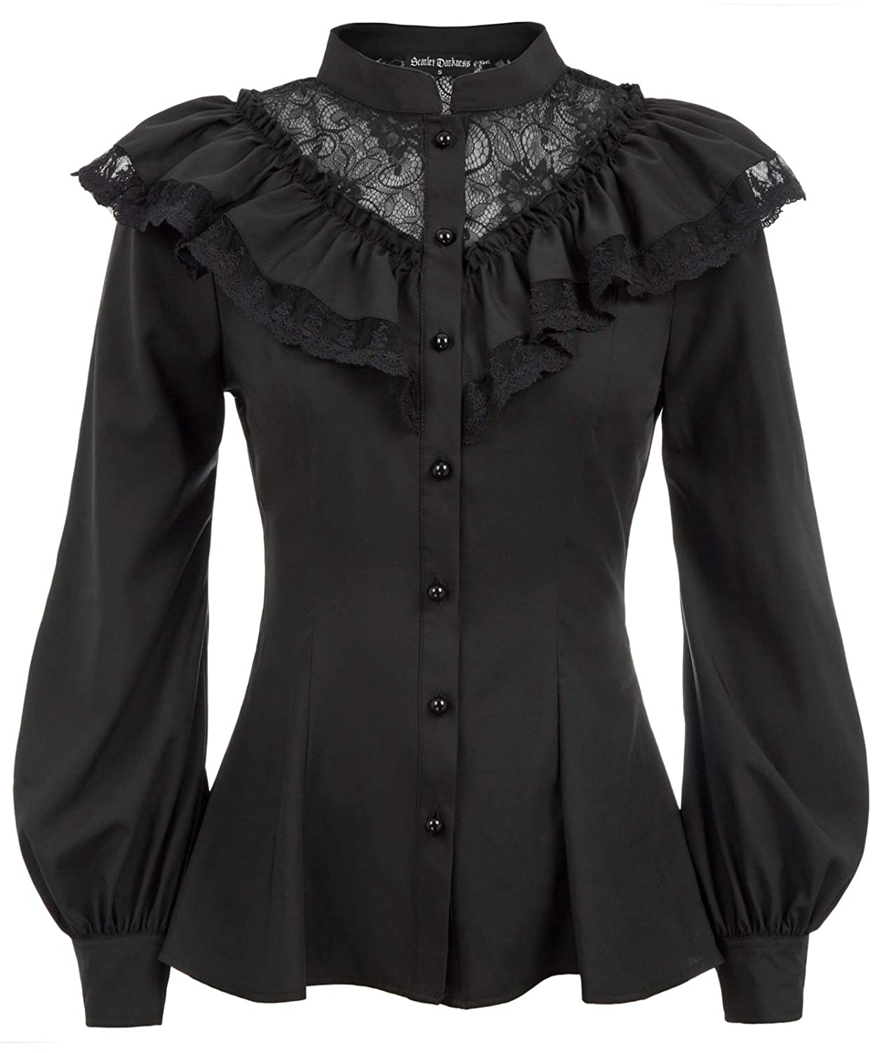 Victorian Blouses, Tops, Shirts, Sweaters Womens Victorian Ruffled Blouse Shirt Steampunk Gothic Tops Long Sleeve $26.99 AT vintagedancer.com