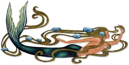 NOVICA Green Mermaid Ocean Decor Large Painted Steel Cutout Indoor Outdoor Wall Art
