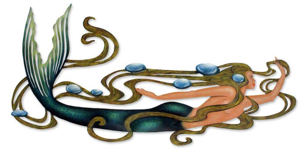 NOVICA Decorative Large Steel Wall Mural, Multicolor, 'Mermaid Magic'
