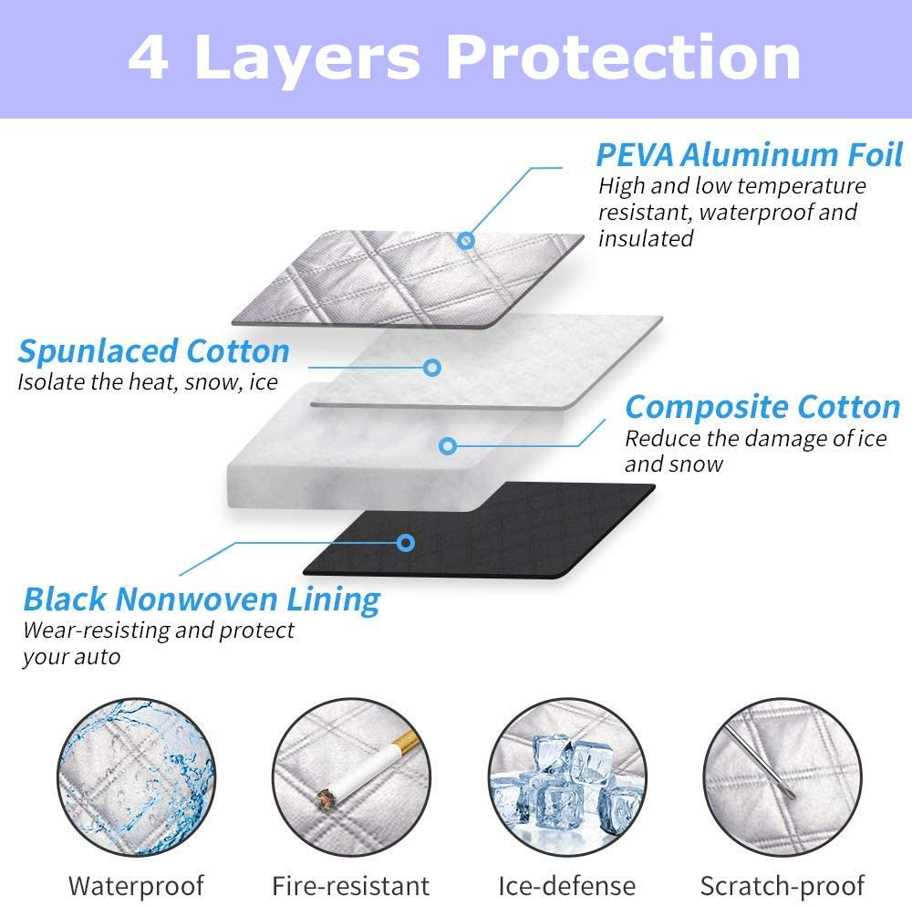 Windshield Snow Cover Waterproof Snow Protection Cover Extra Large Windshield Winter Cover Fits Most Cars and SUV Windshield Snow Ice Cover with Rear View Mirror Protector 58.3 /× 46.5