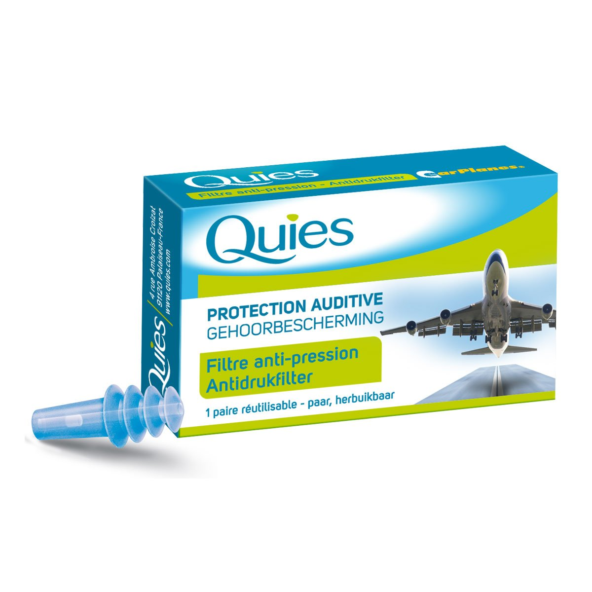 Quies Travel Silicone Earplugs Adult 1 Pair