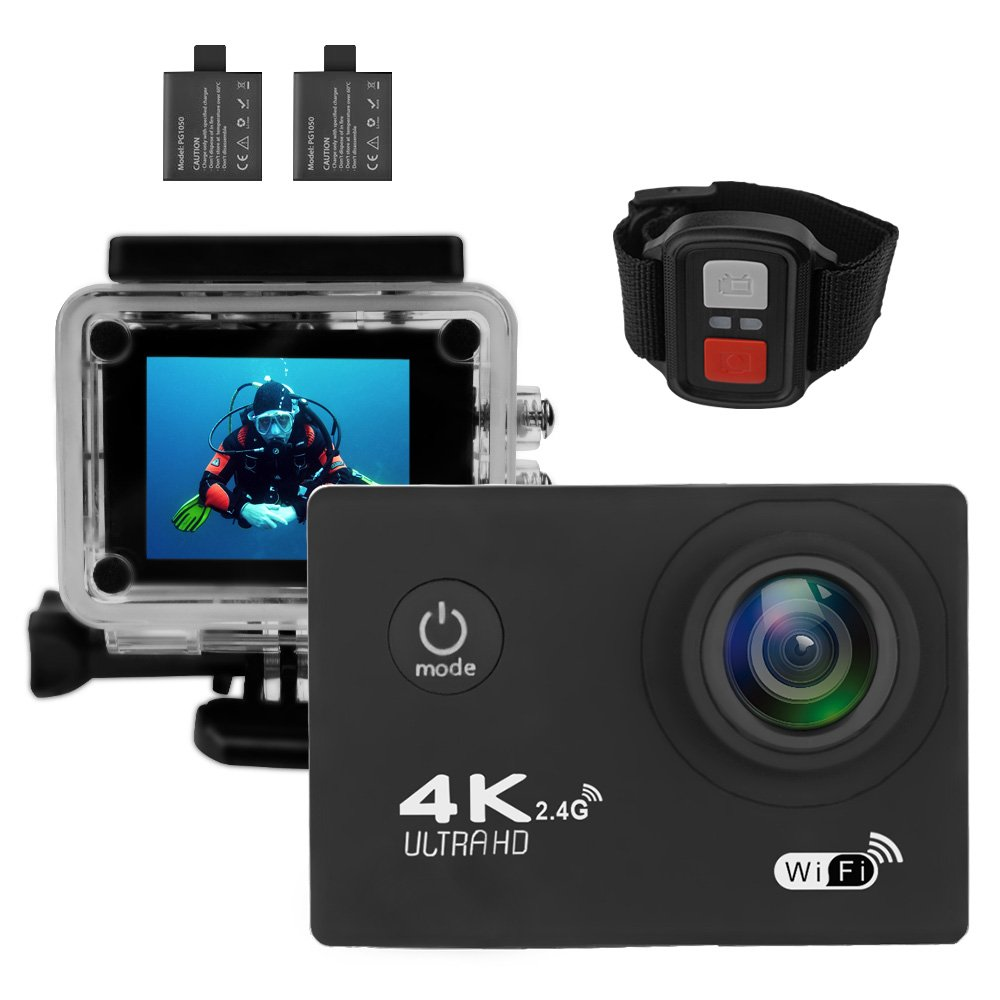 Action Camera 4K Ultra HD WiFi Waterproof Sport Video Camera 2 Inch LCD Screen 16MP 170 Degree Wide Angle 6 Layers Lens with 2.4G Remote by SOUNA