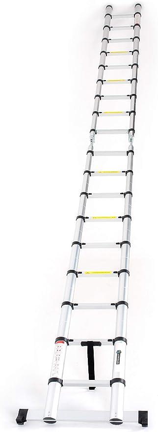 STRODLER® - Escalera telescópica extensible plegable de aluminio, 5,6 m: Amazon.es: Bricolaje y herramientas