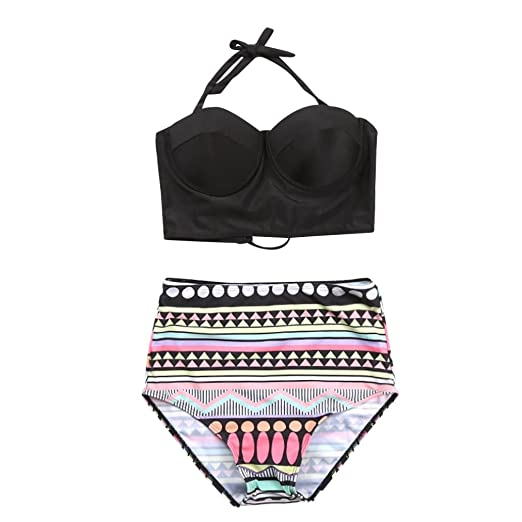 303c52361a8 Amazon.com: Womens Retro Vintage Polka Underwire High Waisted Halter Swimsuit  Bathing Suits Bikini: Clothing