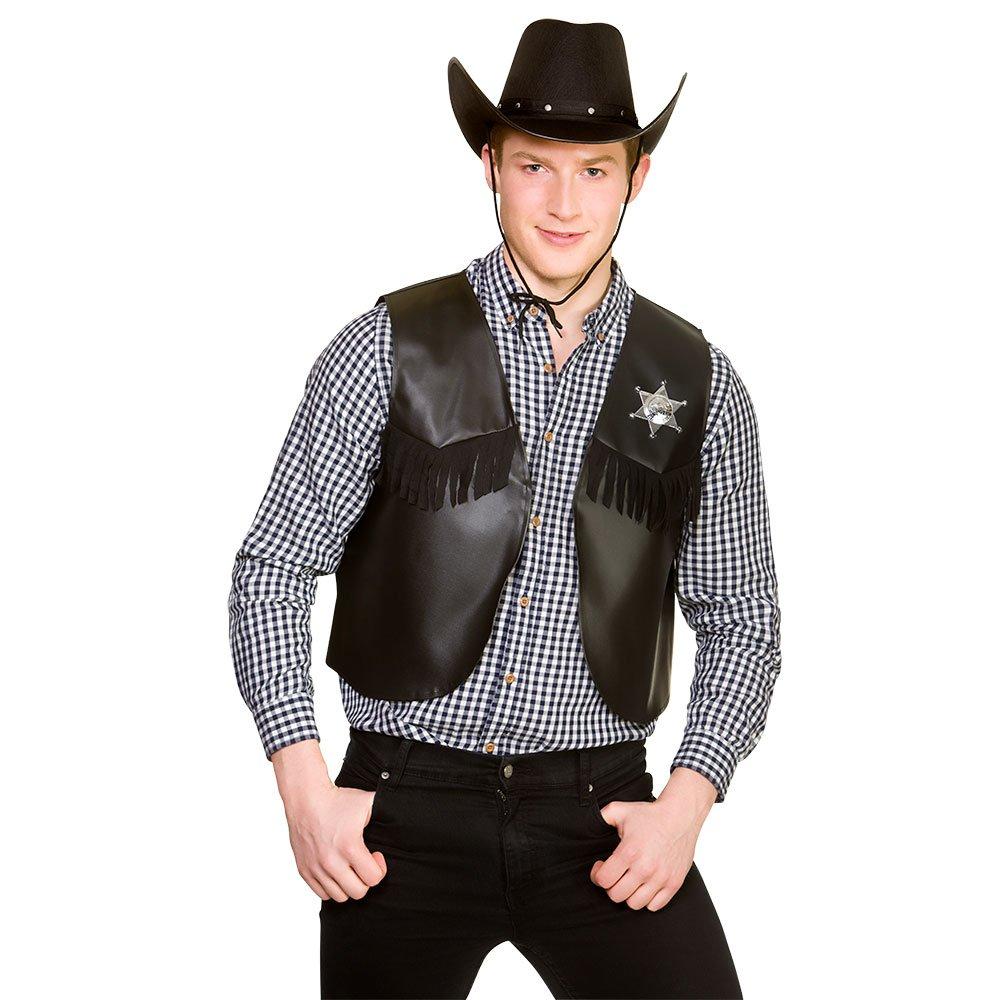 Cowboy/Sherriff Waistcoat American Wild West & Indians Fancy Dress Cosplay BLACK