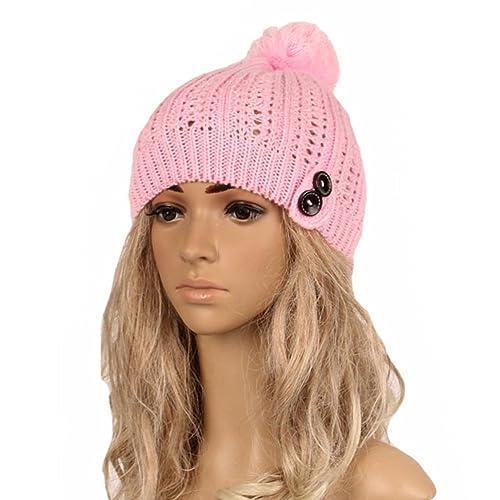 Tinksky Botón de las mujeres Slouchy Knitting Beanie Cap Warm Winter Fall Sombrero de esquí Navidad Regalo de cumpleaños para mujeres niñas