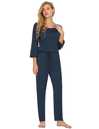 3a9a3507f7d Amazon.com  Ekouaer Women s Sleeveless V-Neck Rompers Sleepwear ...