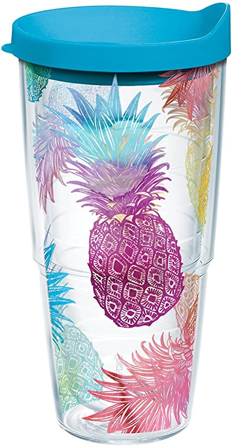 2e44e16f1c2 Tervis 1217221 Watercolor Pineapples Tumbler with Wrap and Turquoise Lid  24oz, Clear