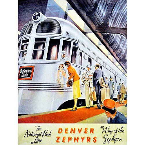 Wee Blue Coo Travel Transport Rail Train Denver Zephyr National Park Line Station USA Unframed Wall Art Print Poster Home Decor Premium