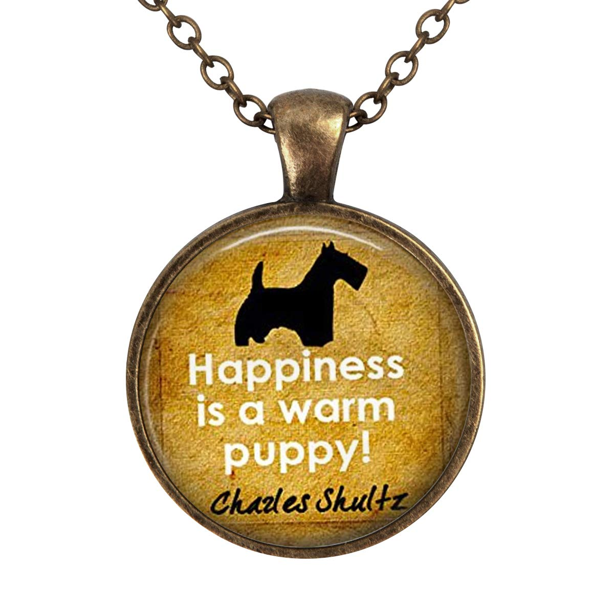 Lightrain Happiness is A Warm Puppy Pendant Necklace Vintage Bronze Chain Statement Necklace Handmade Jewelry Gifts
