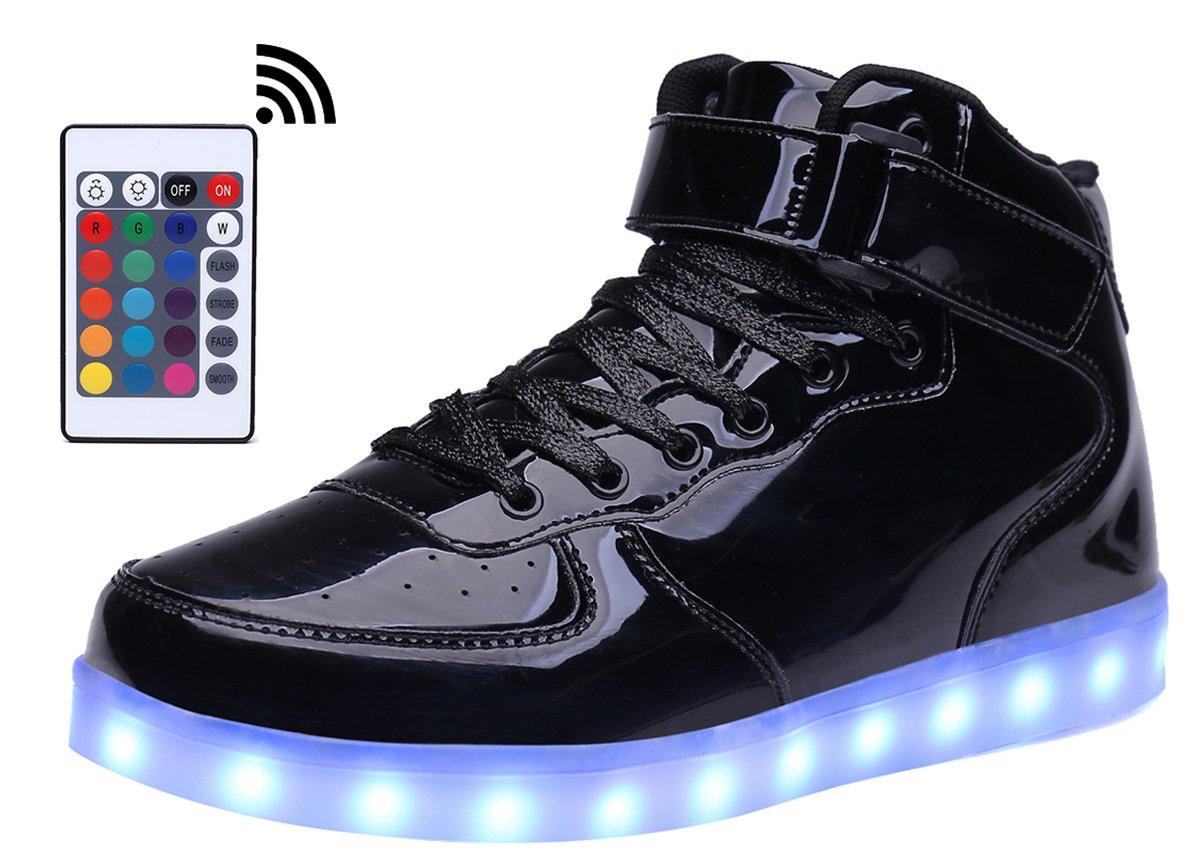 b54ed19d57 Galleon - MOHEM ShinyNight High Top LED Shoes Light Up USB Charging  Flashing Sneakers(1687003ShiningBlack32)