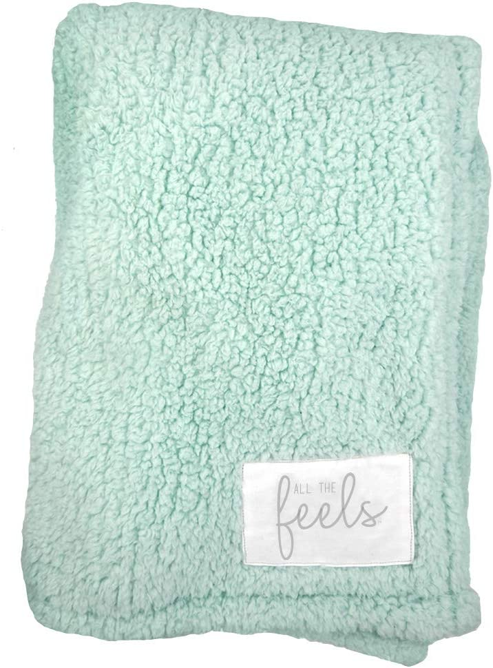 All the Feels Premium Sherpa Fleece Blanket, Throw, 50x60, Glacier Mint Lightweight Throw Blanket, Super Soft Cozy Blanket