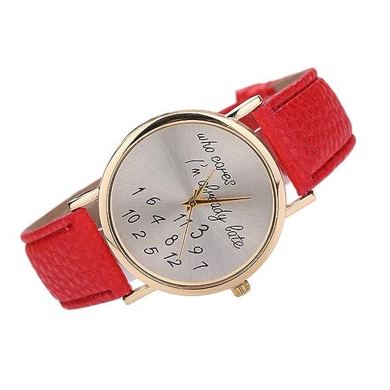 Pretty las mujeres Casual reloj Litchi grano piel estilo banda moda letras imprimir reloj de pulsera rojo: Amazon.es: Relojes
