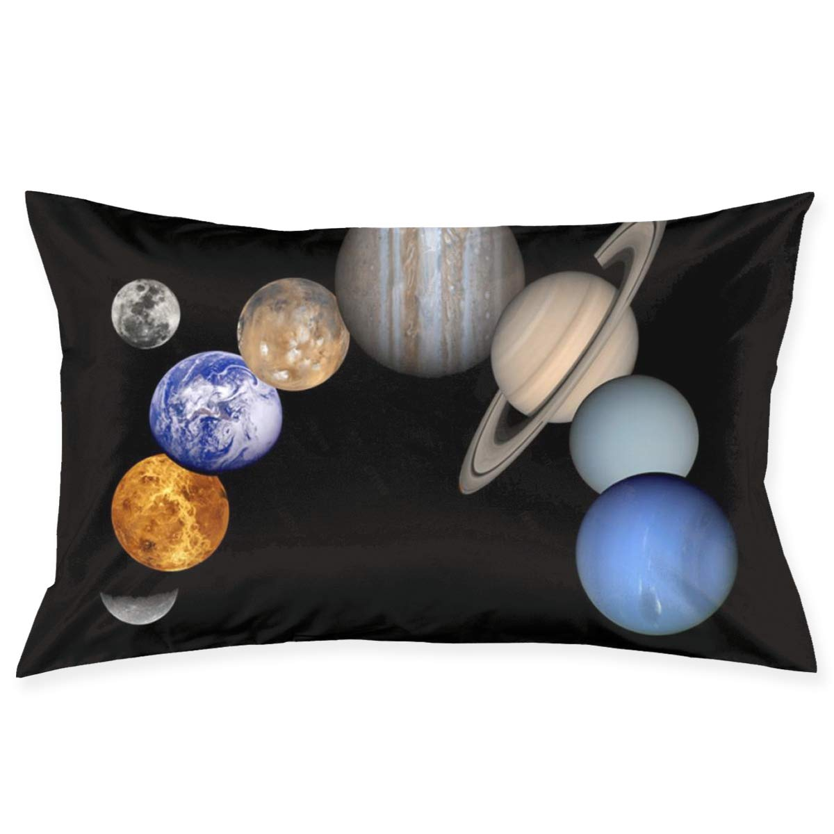JAWKNA 100% Cotton Solar System Planets Space Science Pillows,Soft Cozy Small Throw Pillows 30 X 20 Inch