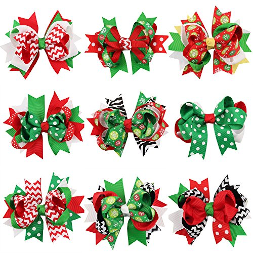 Himine 9Pcs Halloween Christmas Cartoon Bowknot Hairpin Accessories for Girls (Christmas)