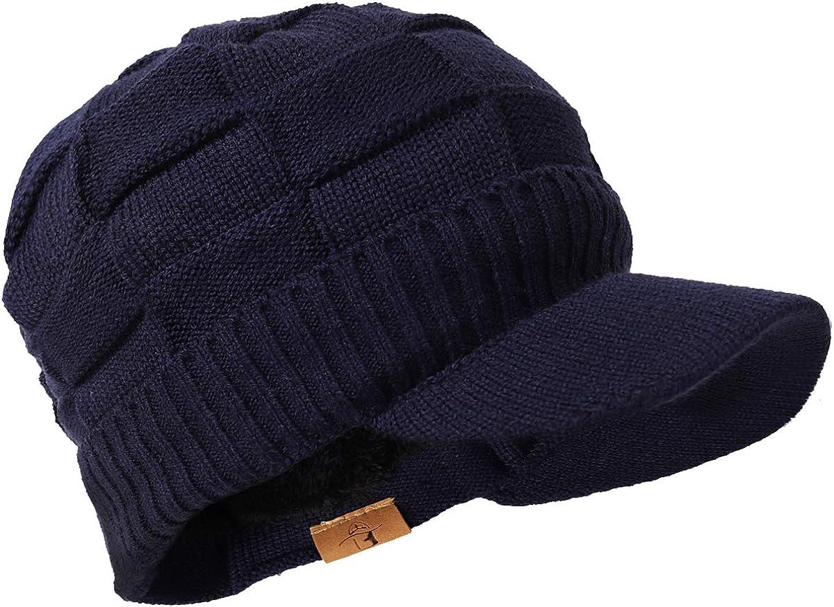 Jazmiu Mens Chic Warm Wool Knit Visor Beanie Winter Thick Fleece Lined Newsboy Cap
