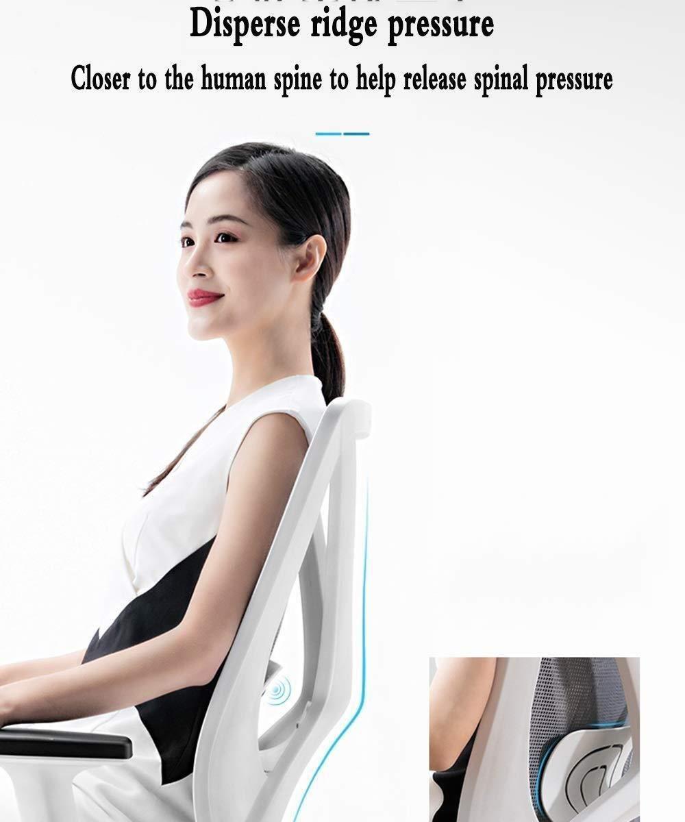 Barstolar Xiuyun kontorsstol justerbara armstöd och korsryggsstöd ergonomisk X-formad design nät datorstol skrivbordsstol för hem kontor studier spel (färg: grå) Vitt