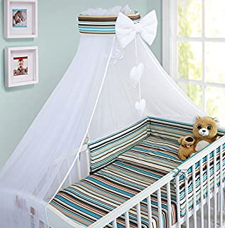 LUXURY 10Pcs BABY BEDDING SET COT PILLOW DUVET COVER BUMPER CANOPY to Fit Cot Size 120x60cm 100% COTTON (Sheep Yellow)